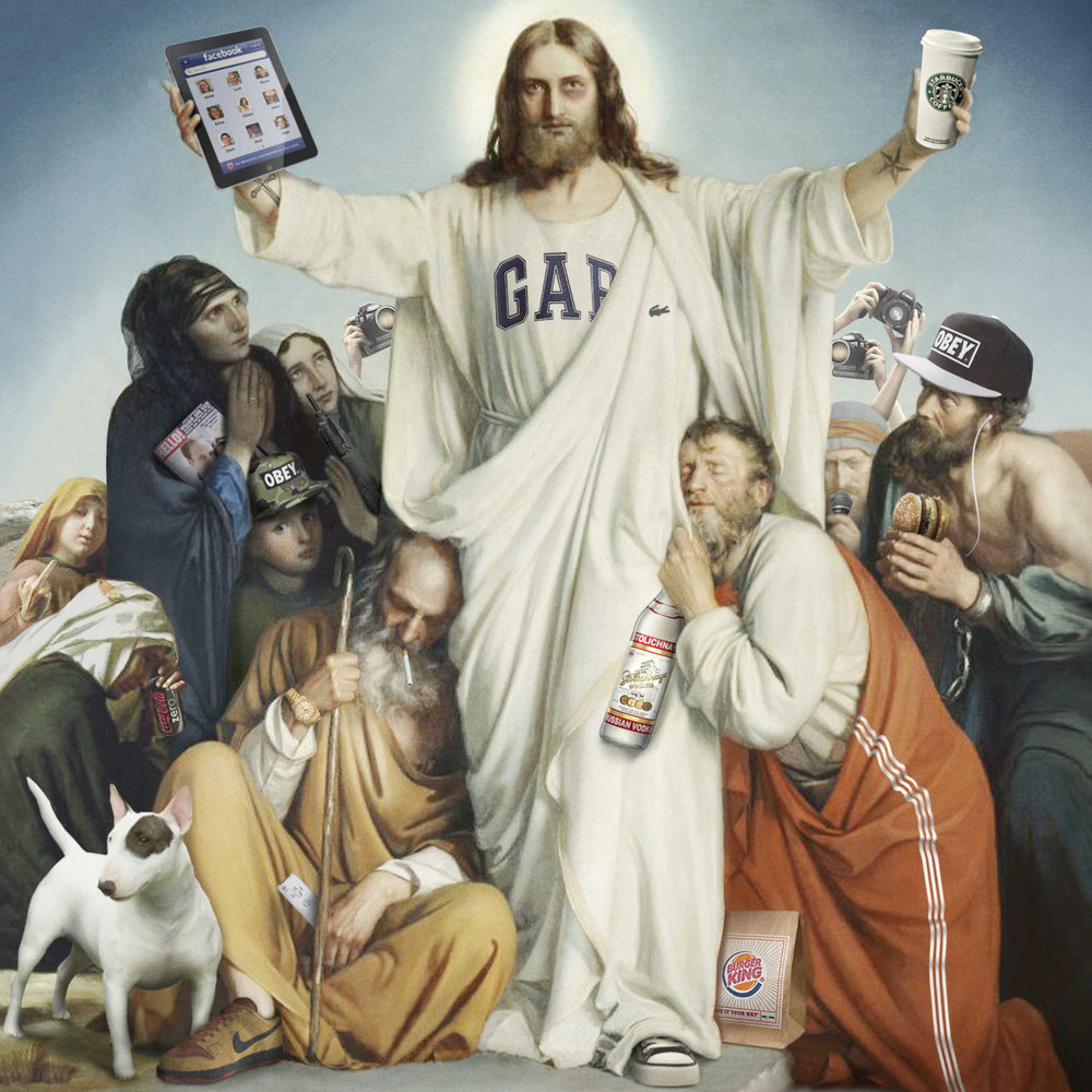 21ST CENTURY CHRIST   made entirely from images found on the internet.  Cover artwork for Klebstoff Magazine #3, a German publication that specializes in street art sticker culture from around the world.   PRESS:  Sticker Mag / Slanted / Nerdcore / Art - Das Kunstmagazin