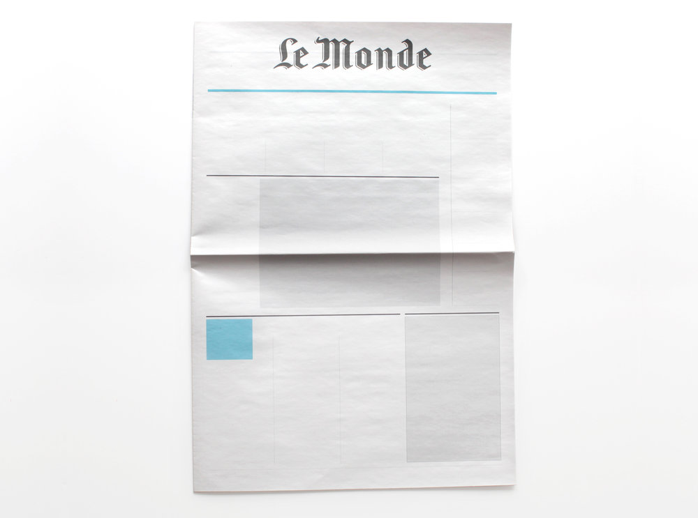 NOTHING IN LE MONDE  :  Newspapers from around the world with nothing in them.