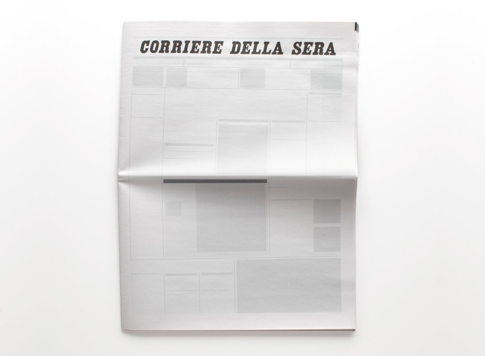 NOTHING IN CORRIERE DELLA SERA:  Newspapers from around the world with nothing in them.