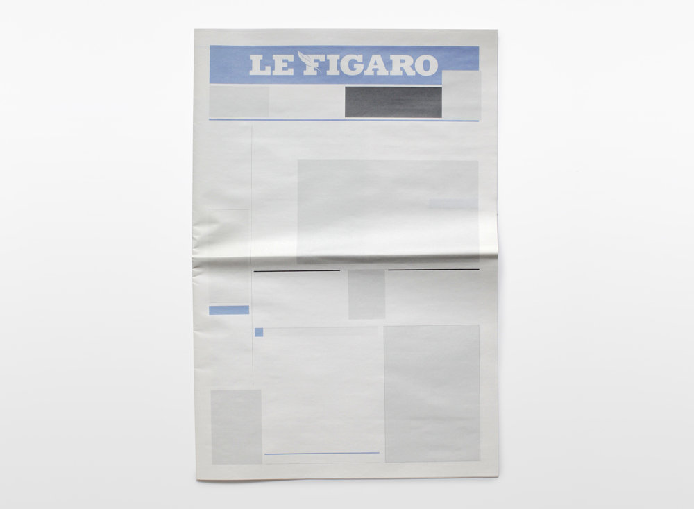 NOTHING IN LE FIGARO:  Newspapers from around the world with nothing in them.