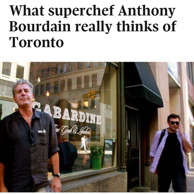 When I found out @anthonybourdain visited @coldteabar, a place I would DJ here in #Toronto, I kinda flipped out.  That was huge for us.  We were rarely recognized on that scale as a cool destination so to get the cosign from one of the world's most recognized and renowned chefs was massive.  #RIPAnthonyBourdain.  This is a tragic day for all.  You influenced the way a lot of people look at food from all over the world.  You had a way of making food look 'cool'. And it wasn't just food it was an experience.