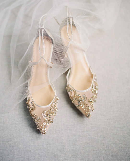 Subtle Glitter Wedding Day Heels