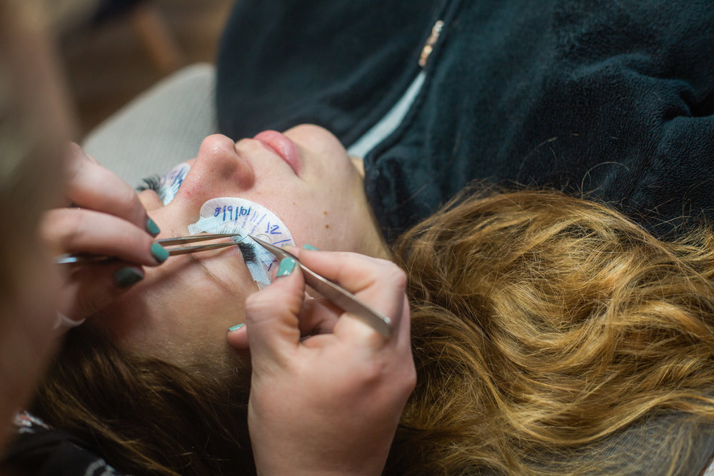 Lash Extensions being applied at Urban You - Beauty Bar on Wealthy