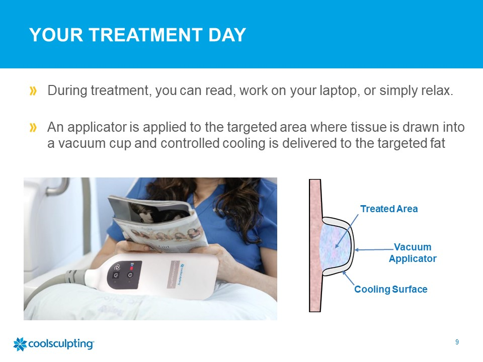 During coolsculpting treatment, you can read, work on your laptop, or just relax. An applicator is applied to targeted area where tissue is drawn into a vacuum cup and controlled cooling is delivered to the targeted fat.