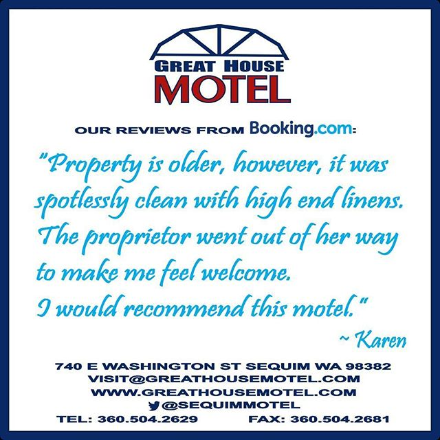 We look forward to guests like Karen to come back to #Sequim and stay with us again at the #GreatHouseMotel. #travel #motel  WWW.GREATHOUSEMOTEL.COM
