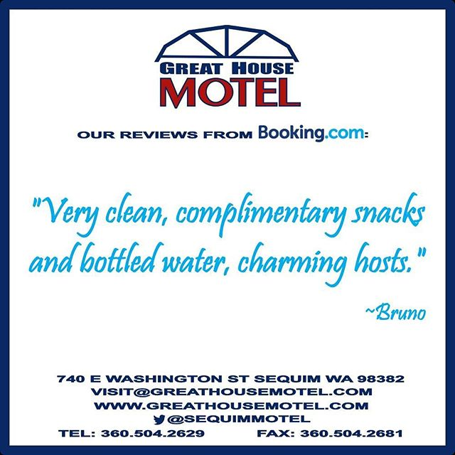 Thank you Bruno for your kind words! We want everyone to feel at #home when you stay with us at the #GreatHouseMotel #Sequim #travel #motel #bookingdotcom