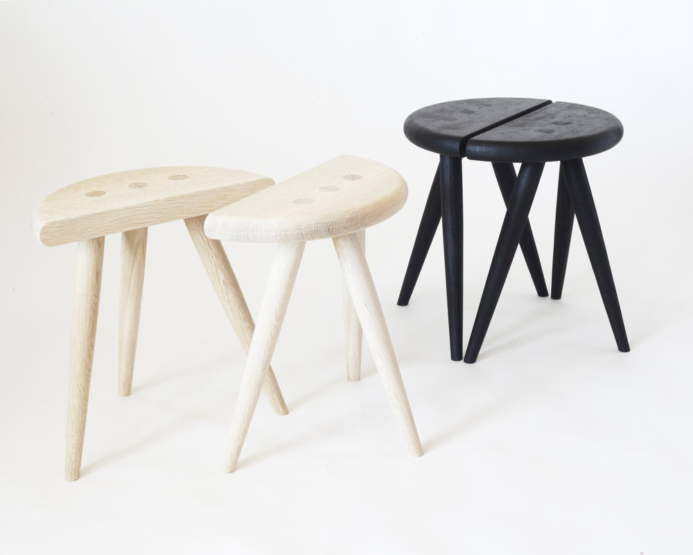 Circle stools-  Bleached/ charred white oak
