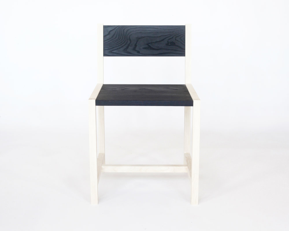 Square chair-  Bleached/charred ash