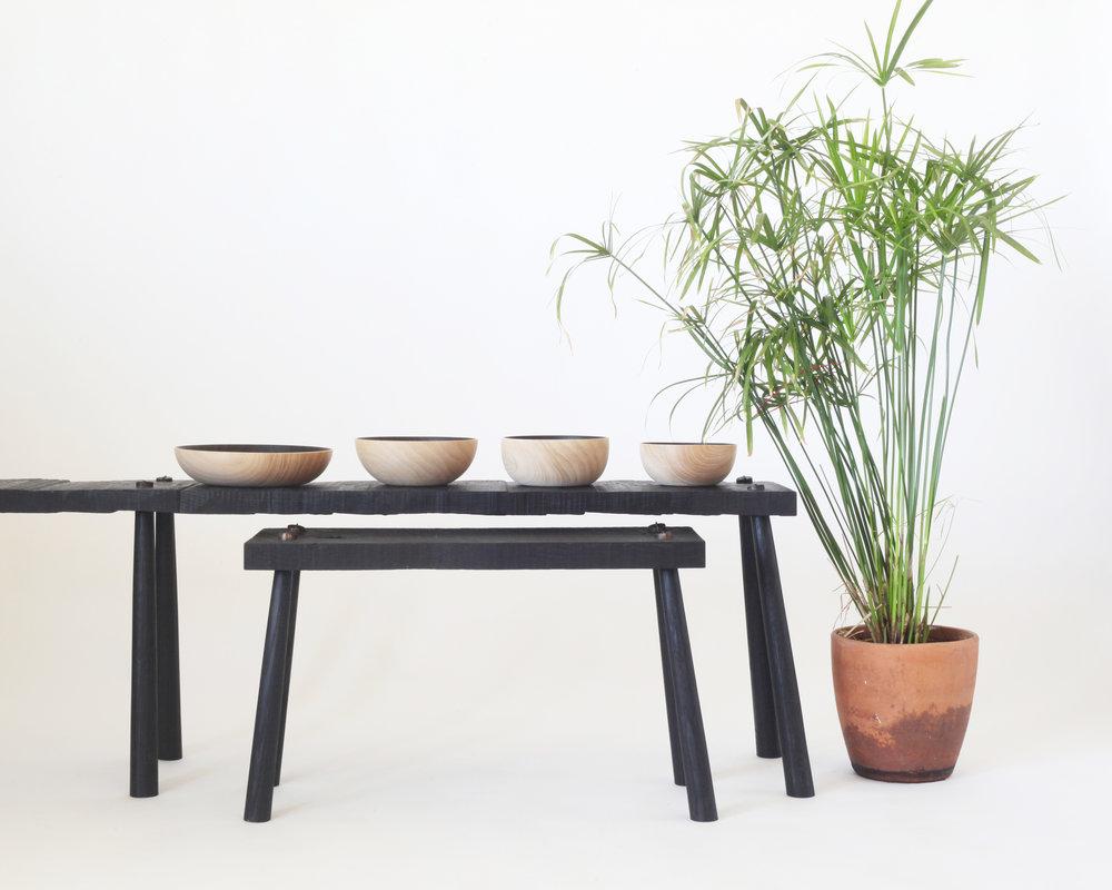 Roughhewn benches,  Burnout bowls