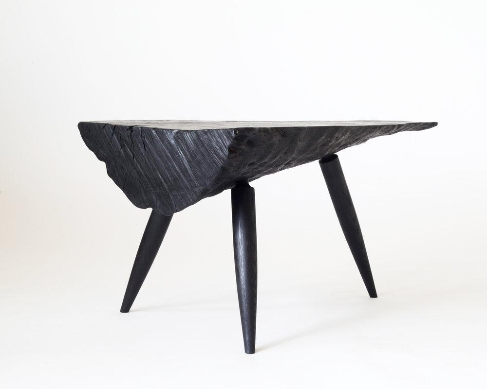 Side table-  Charred California live oak