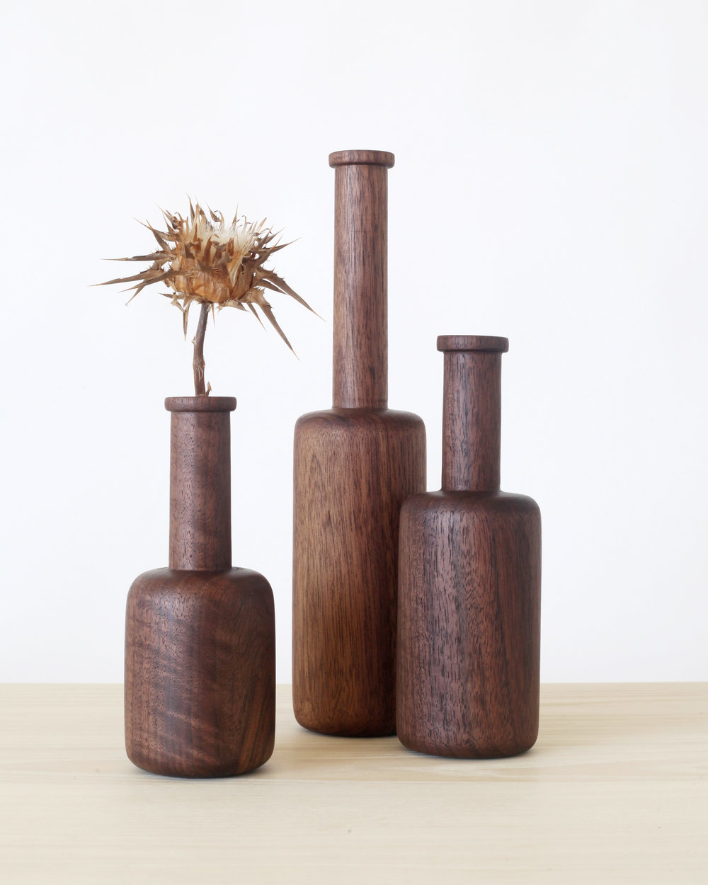 Wooden bottles-  Black walnut