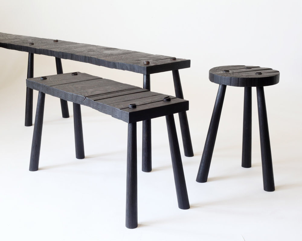 Roughsawn benches and stool-  Charred white oak