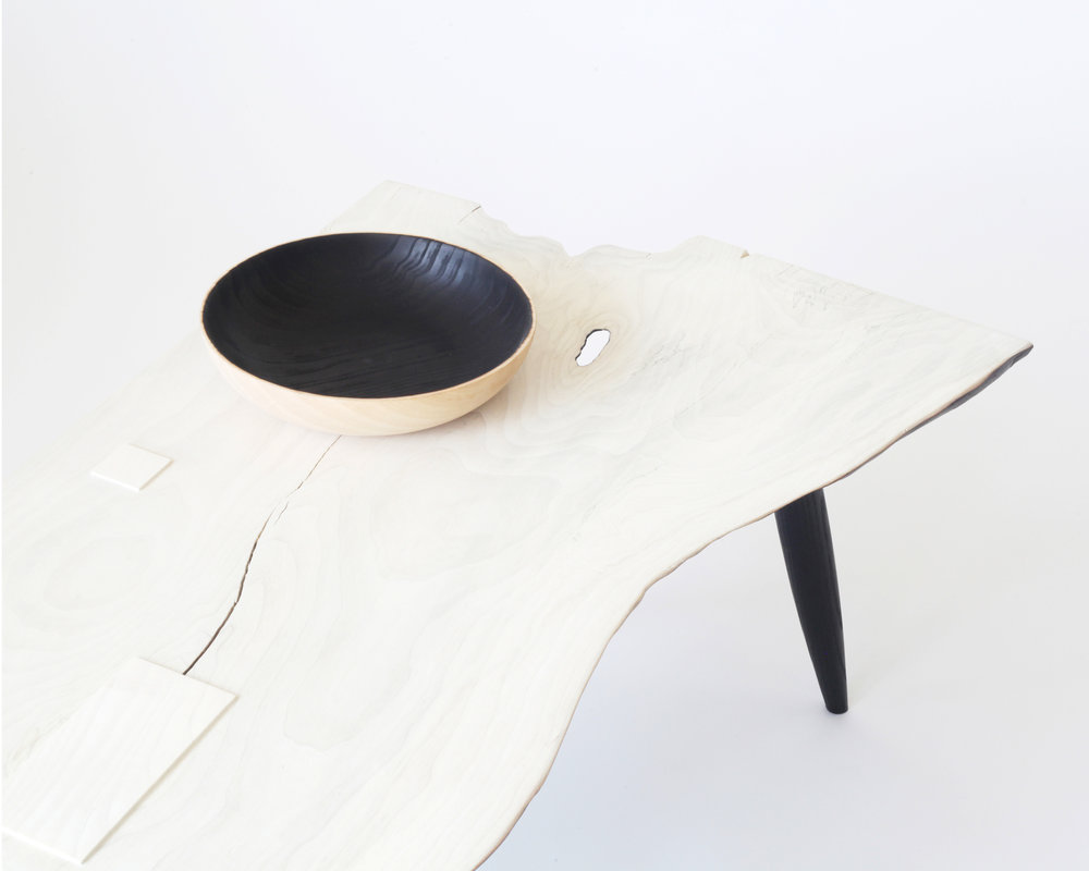 Coffee table-  Bleached/Charred Modesto ash