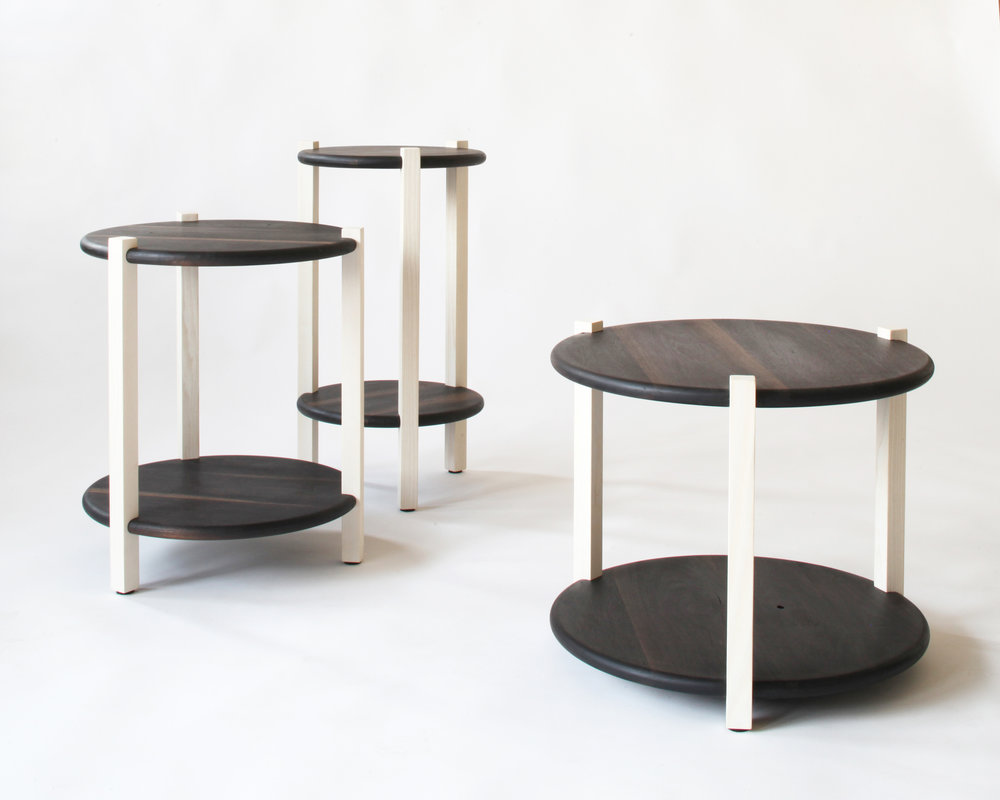 side tables-  bleached ash/ oxidized walnut