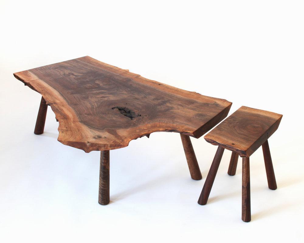 coffee table, stool-  claro walnut