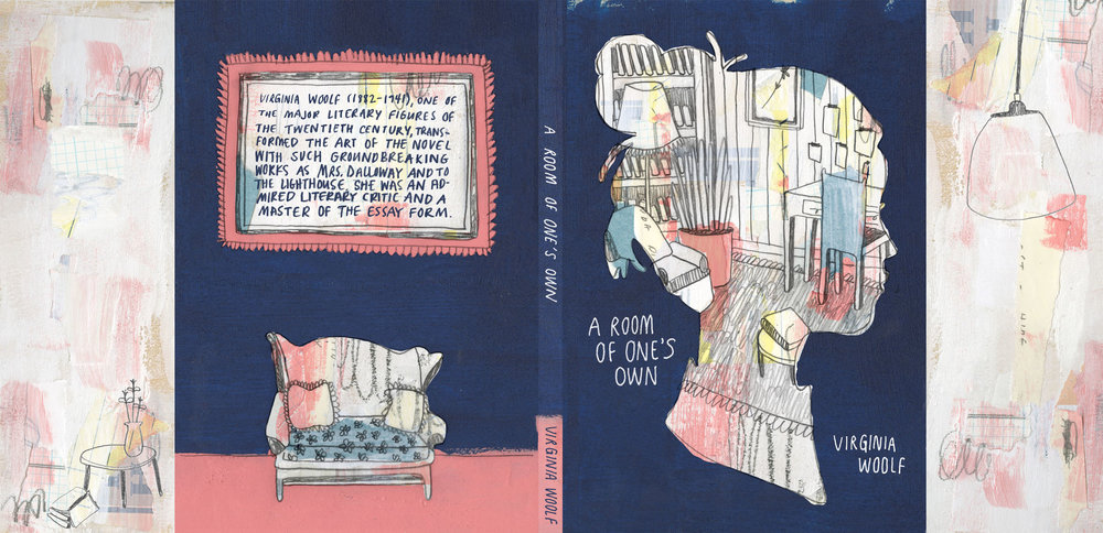 Book jacket design based on Virginia Woolf's A Room of One's Own.