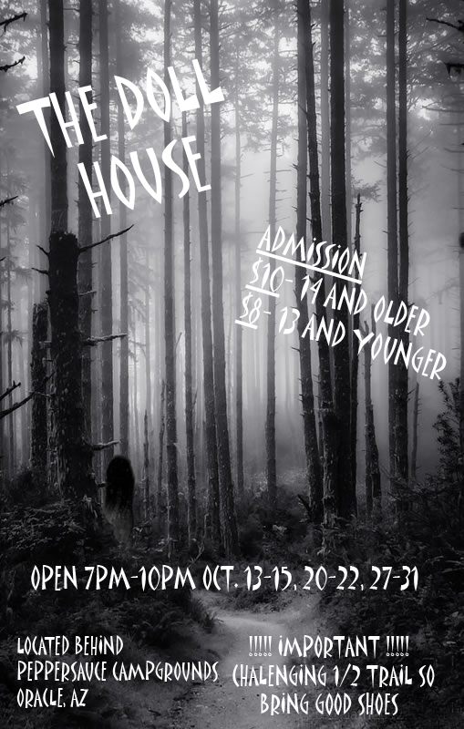 The Doll House was a charity haunted house. We made these fliers for them and helped spread the scare!