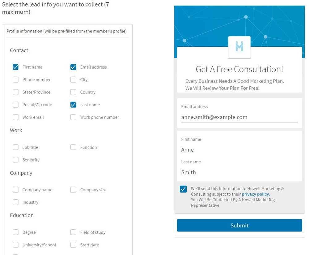 LinkedIn Lead Form