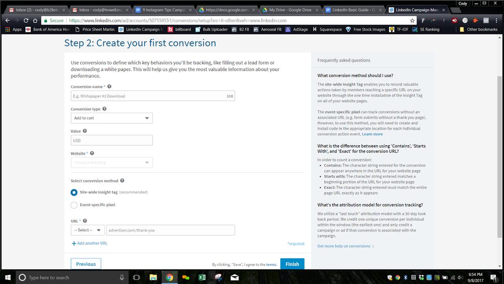LinkedIn Conversion Set Up