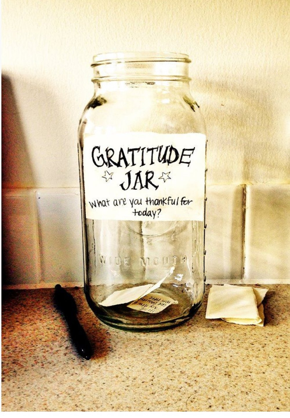 Your Gratitude Jar can be as simple as these above.