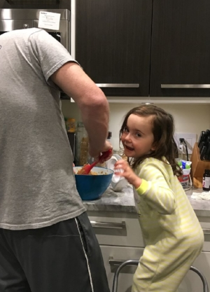 Just one of our new family evening hobbies: baking! She's always so excited to lick the beaters!