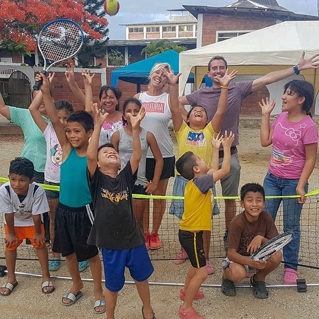 First time the children have played tennis in the Orphanage! #minitennisrtw #Ecuador #TennisForKids #excited #howsyourcatch