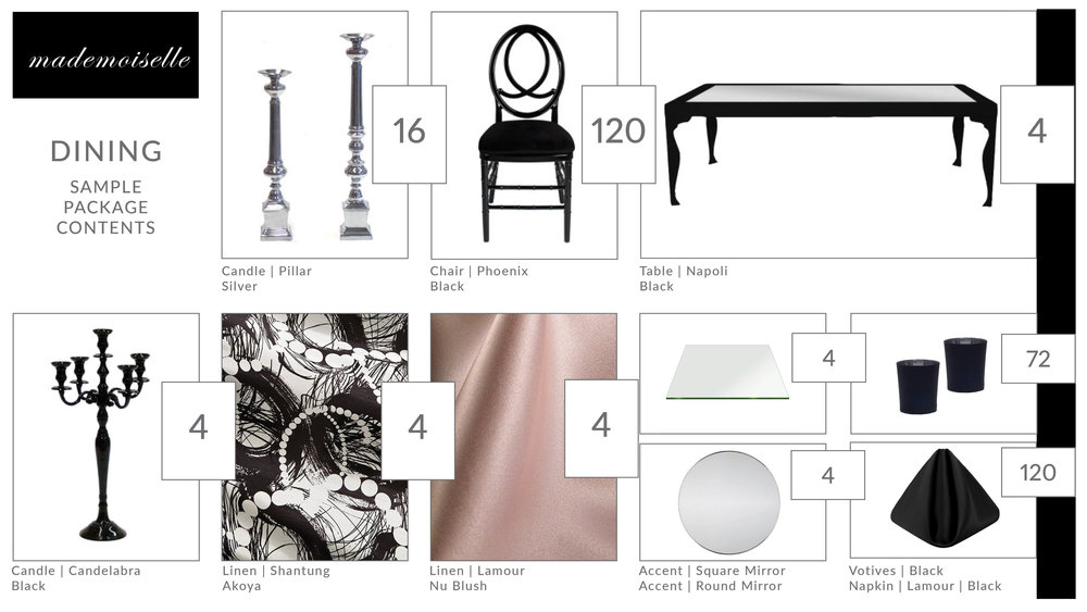 mademoiselle dining package contents