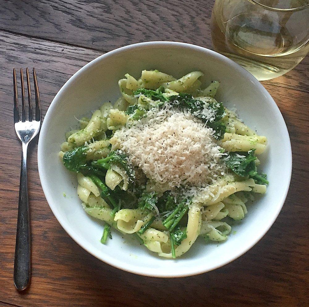 Pasta with Broccoli Rabe + Garlic Scape Pesto