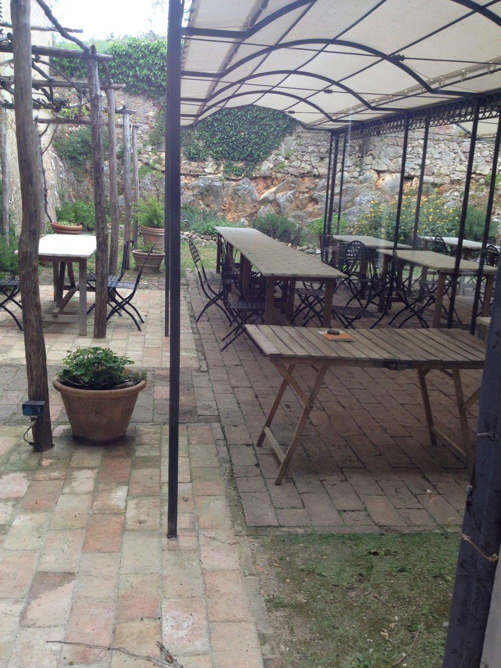 Dining patio at Spannocchia