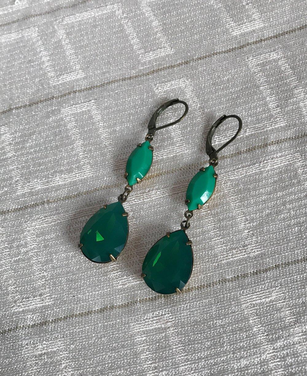 918e70e9c1c02 Vintage Swarovski Crystal Earrings - Palace Green Opal and Apple Green