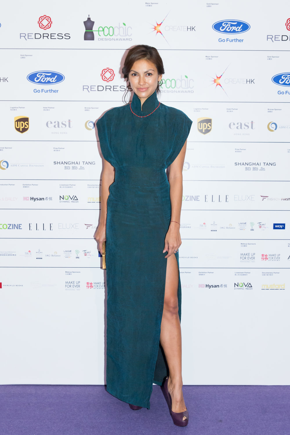 Hong Kong supermodel Rosemary Vandenbroucke wears Cher Chan to attend the EcoChic Design Award 2015/16 Grand Final