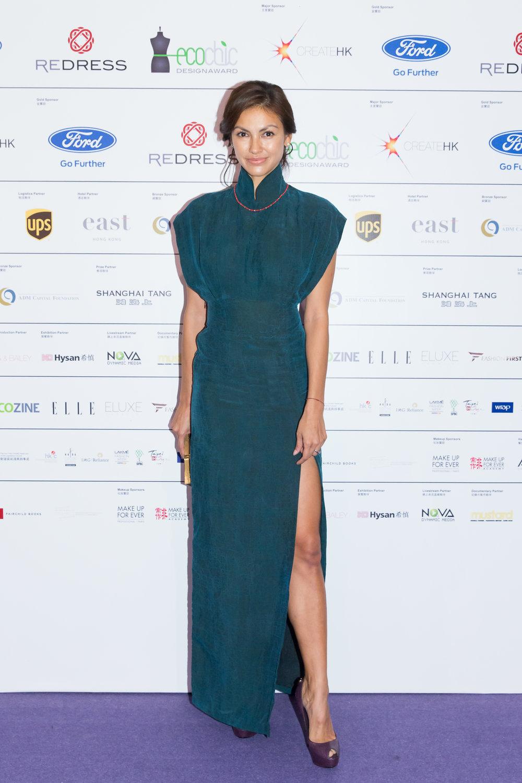 Hong Kong supermodel Rosemary Vandenbroucke wears Cher Chan to attend the Redress Design Award 2015/16 Grand Final Show