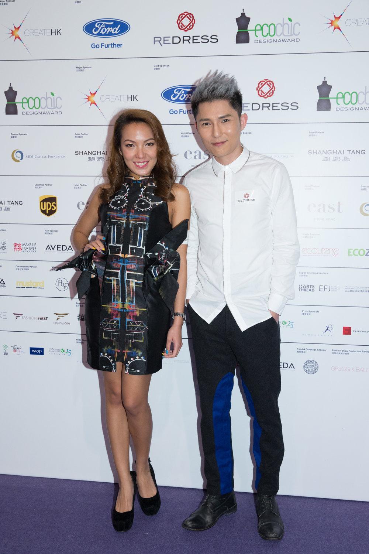 Hong Kong entertainers Sarki Choy and Ryan Lau wear Angus Tsui and Wan & Wong Fashion to attend the EcoChic Design Award 2015/16 Grand Final