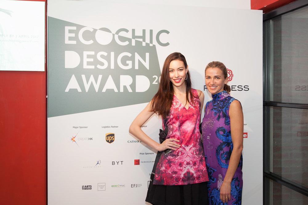 EcoChic Design Award Ambassador Sofia Wakabayashi wears Angus Tsui, Redress founder Dr. Christina Dean wears Pat Guzik