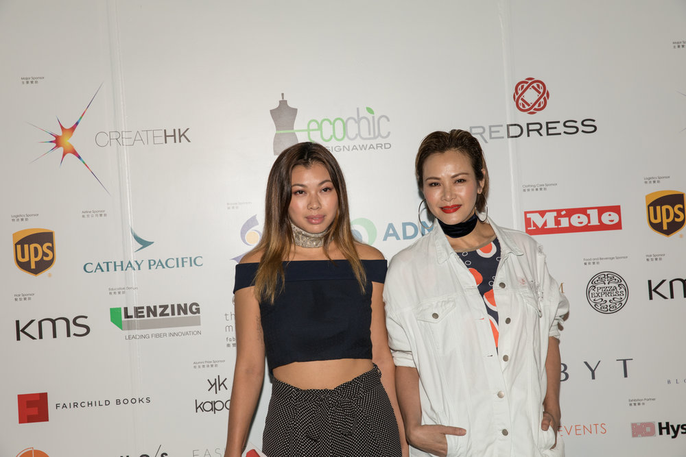 Kayla Wong wears secondhand outfit designed by Redress Design Award 2017 finalists, and Janet Ma wears Absurd Laboratory to attend the Redress Design Award 2017 Grand Final Show
