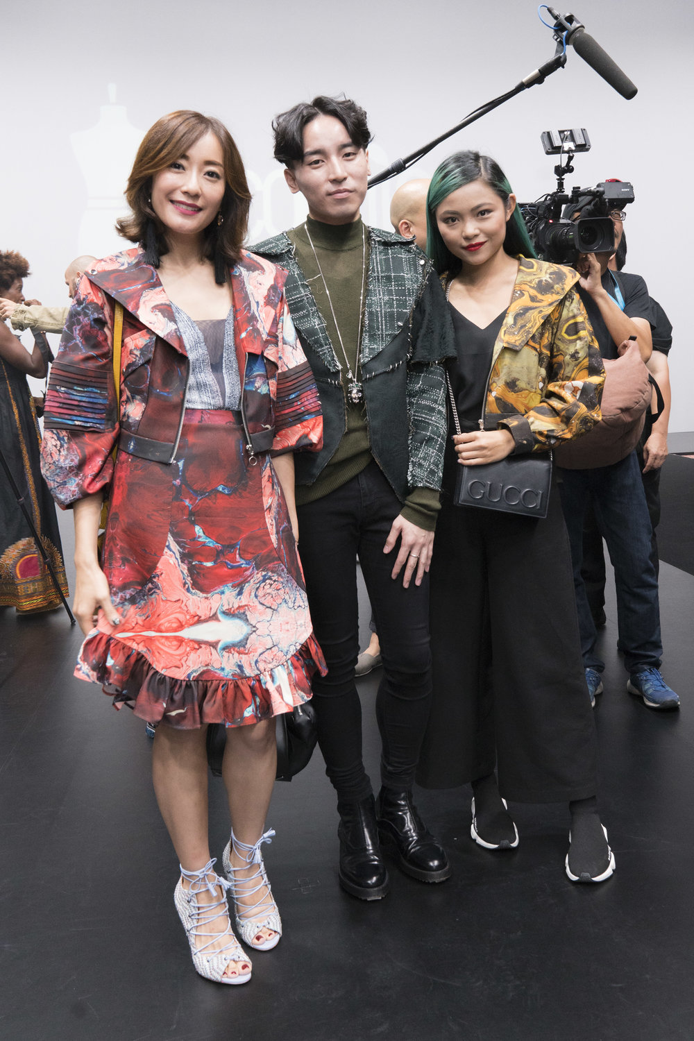 Nicola Cheung Young and Cecilia Ngan wear Angus Tsui to attend the Redress Design Award 2017 Grand Final Show