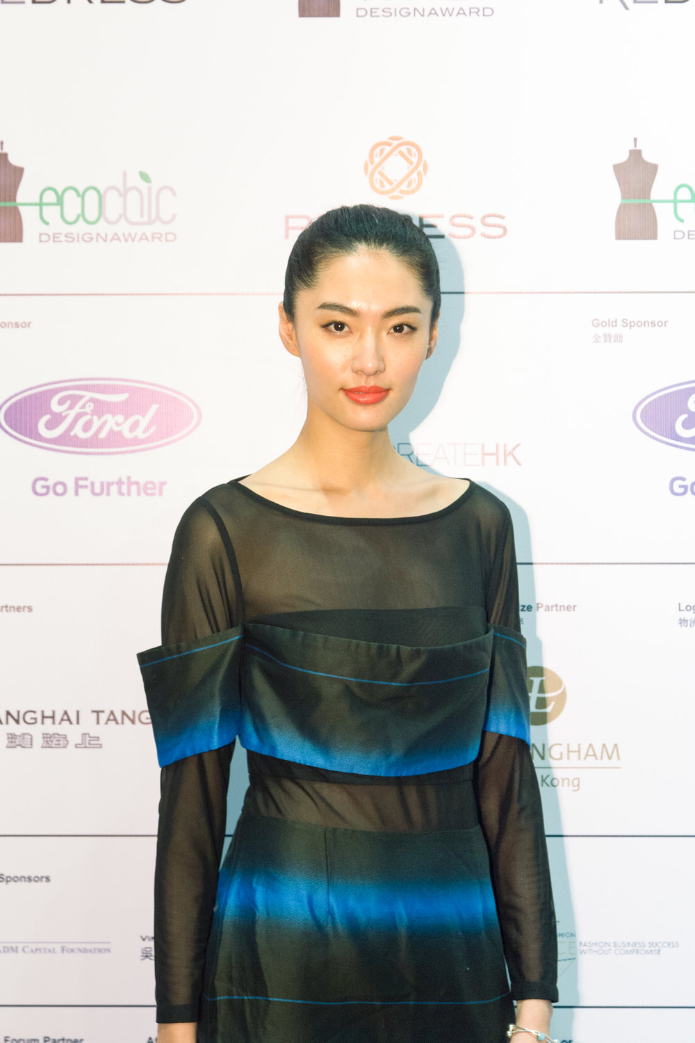 Redress Design Award ambassador and Chinese supermodel Bonnie Chen wears Aman Cheung to attend the Redress Design Award 2015/16 Grand Final Show