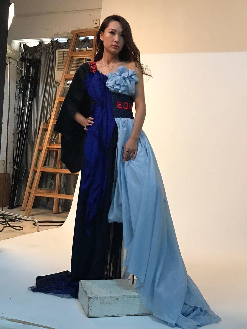Redress Design Award ambassador Kate Tsui wears Lina Mayorga to a photoshoot with JESSICA HK