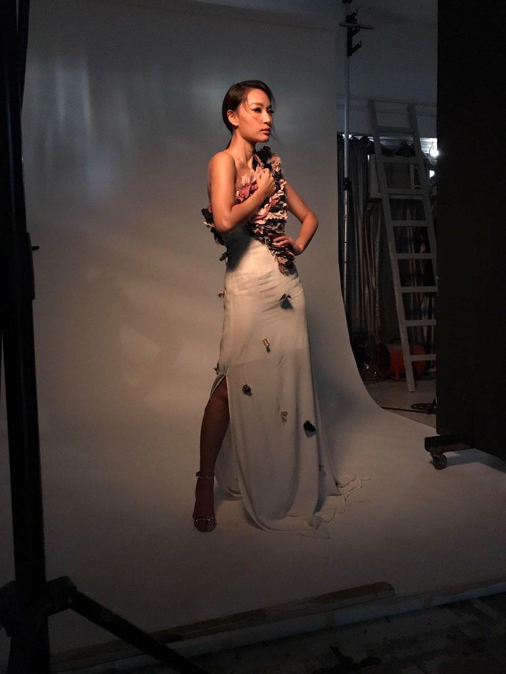 Redress Design Award ambassador Kate Tsui wears Claire Dartigue to photoshoot with JESSICA HK