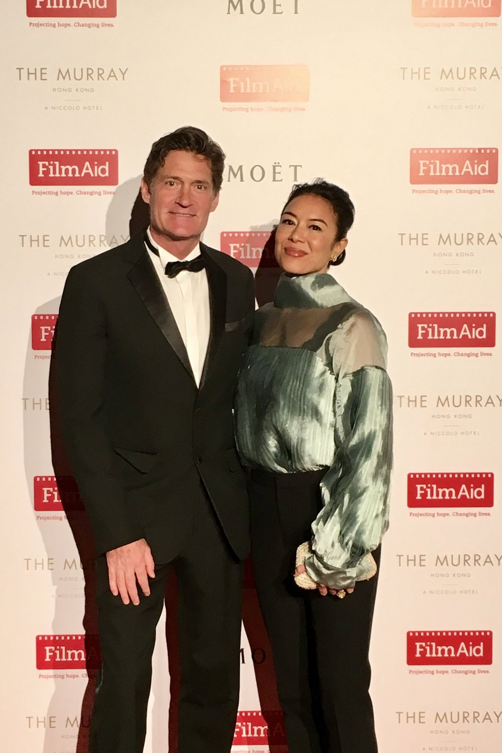 Cristina Mclauchlan, Founder of The Vibe Tribe was spotted with Craig Leeson, Director of A Plastic Ocean, supporting Redress Design Award alumni at the recent FILM AID ASIA red carpet event. Here Cristina's wearing 2017 finalist Amanda Borgfors Mészàros Amanda Borgfors Mészàros's zero-waste, up-cycled pleated teal blouse.