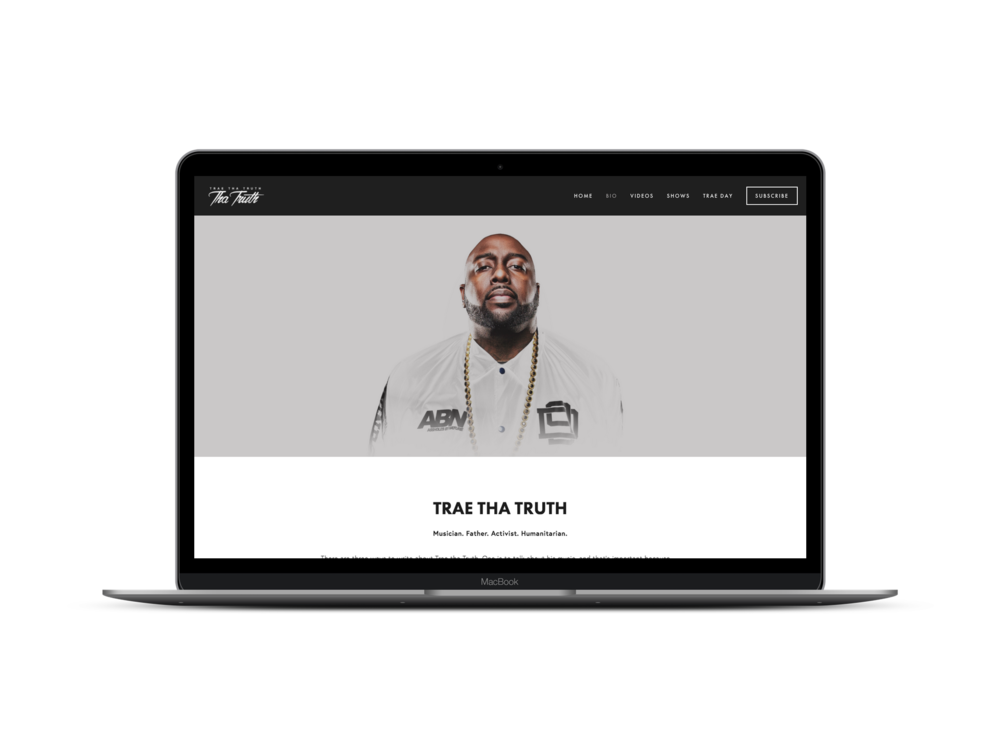 Max Pete provided Squarespace website design and development, e-commerce, digital marketing, and email marketing for Trae Tha Truth.