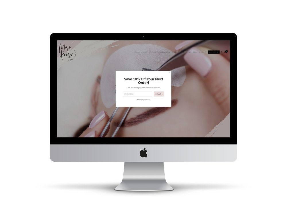 Max Pete provided Squarespace website design and development for Miss Priss Lash & Brow.
