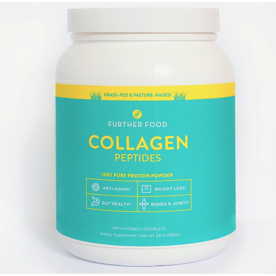 Further Food Collagen Peptides - These collagen peptides by Further Food have been my supplement of choice for my protein smoothies. Collagen is incredibly important for overall health and wellness because as we age we lose collagen quickly and have trouble reproducing it naturally. I like Further Food's because their powder is super fine, flavorless, and adds a nice creaminess to smoothies and adds seven grams of protein for only twenty-nine calories per scoop! You can even use it in lattes like a powdered creamer.