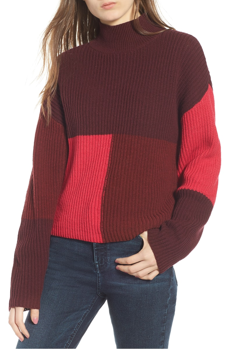 BP. Mock Neck Colorblock Sweater - Colorblocking is always a big trend during the fall.  I like that this sweater is a bit more subdued than the Topshop one (it also comes in a black/camel color combo) and the mock neck makes it a great piece for colder climates!