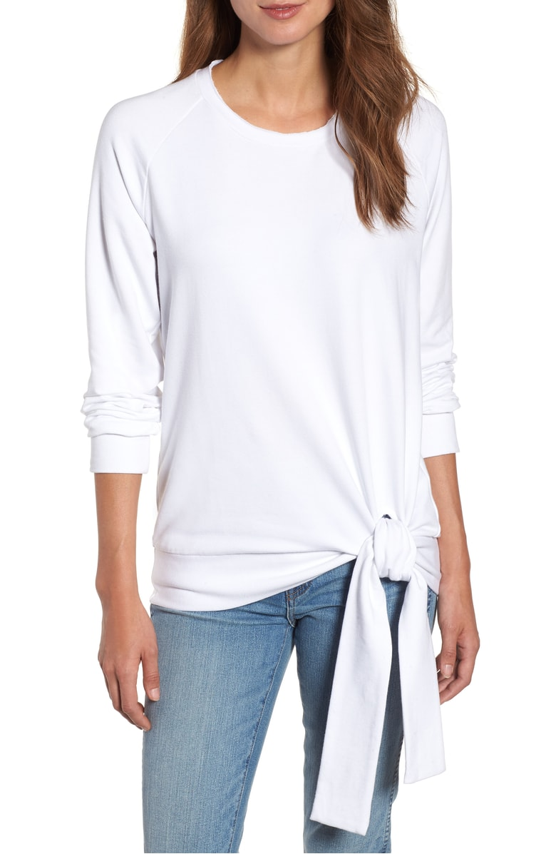 Caslon Tie Knot Sweatshirt - I'm obsessed with this sweatshirt! I love the tie detail so much and it instantly makes a sweatshirt and leggings outfit look a bit more purposeful.  This sweatshirt would also look great with the jeans and ponte pants above!  Hurry and grab one of the five colors it comes in!