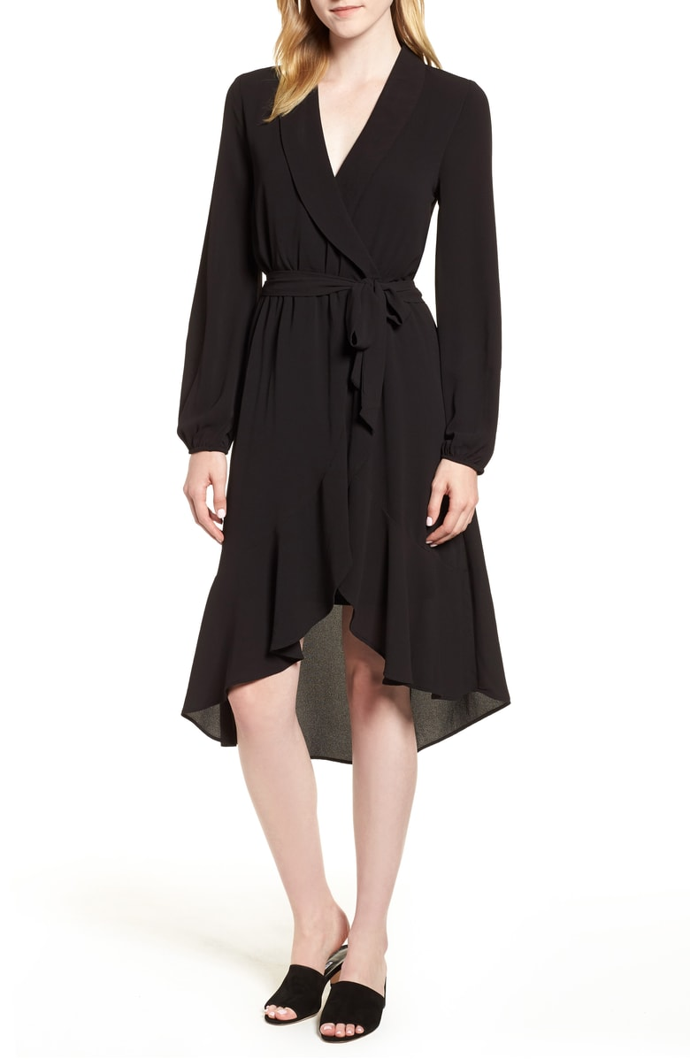 Bobeau Faux Wrap Dress - A LBD wrap is a must-have item in every woman's closet.  The shape is incredibly slimming and lends itself to so many different occasions.  You can easily dress this up or down with a change of shoes, earrings, and hairstyle!