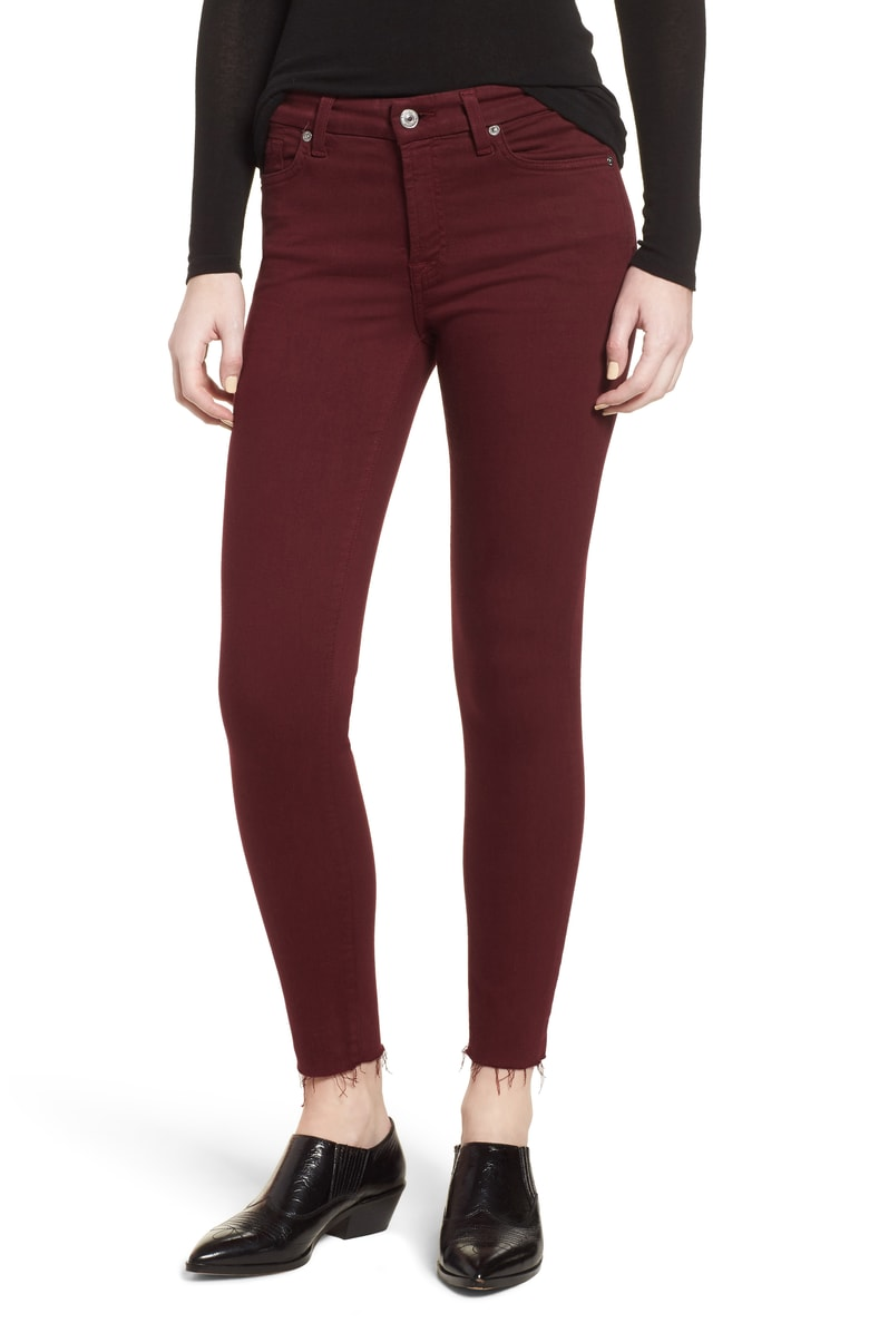 7 For All Mankind Raw Hem Ankle Skinny Jeans in Merlot - Burgundy jeans are the epitome of fall.  I love this style, especially with the new trend of the raw edge.  This would look great paired with the Free People sweater above in black!