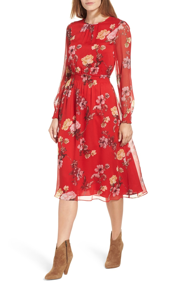 Vince Camuto Garden Fleur Chiffon Blouson Dress - While florals are a big hit in spring I personally love them most in the fall.  This beautiful red shade is perfect for autumn and I love how you can wear boots, flats, or even heels!  Such a versatile piece to have in your closet for all seasons.