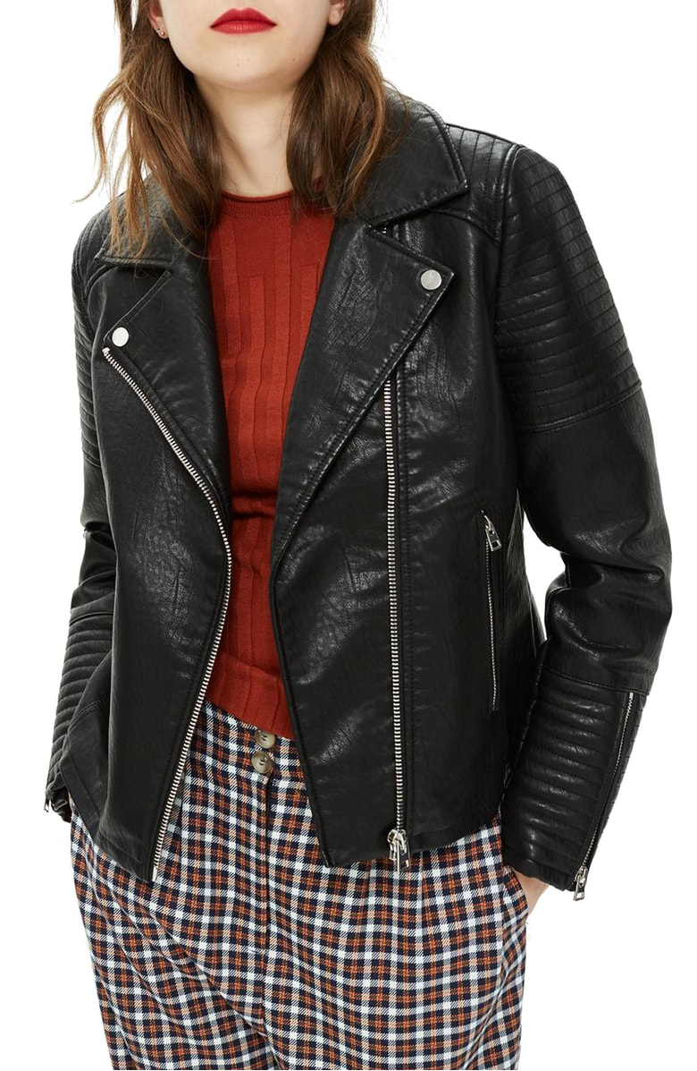 Topshop Rosa Biker Jacket - A biker always looks cool in fall.  Pair it with dark jeans, white t-shirt, and sneakers and you've got a classic outfit. This jacket is even cooler with its less than $60 price tag!