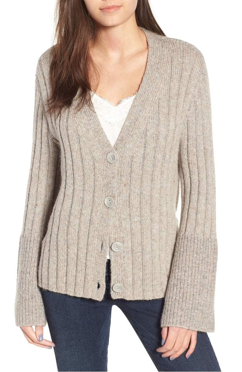 Leith Cozy Ribbed Tie Cardigan - This cardigan is one of my favorites in the whole sale.  I like the subtle bell sleeve and the perfect oatmeal color.  This cardigan is a must buy!